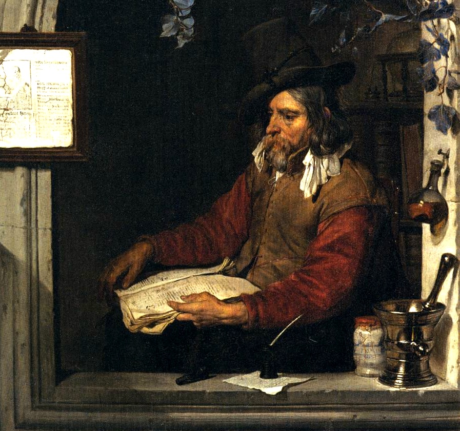 Gabriel Metsu, The Apothecary, Dutch oil on panel, 1661. Image via Wikimedia Commons.